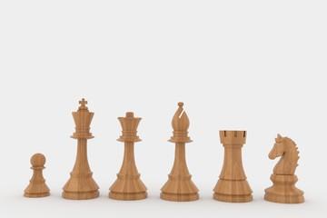 chess wood figures in 3D rendering