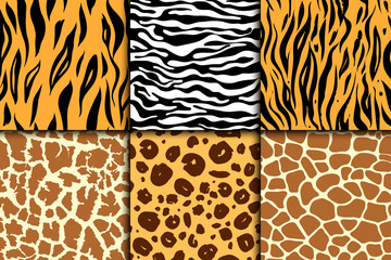 Seamless pattern with cheetah skin. vector background. Colorful zebra and tiger, leopard and giraffe exotic animal print.