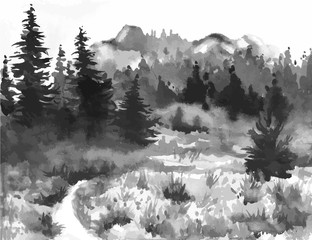 Hand Drawn Watercolor Painting of Forest Landscape. Taiga