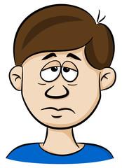 Porträt von einem traurigen Cartoon Mann