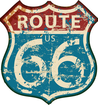 vintage route 66 road sign,retro grungy vector illustration