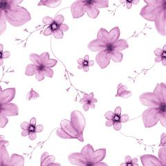 Seamless pattern of watercolor purple wildflowers