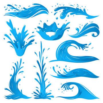 Set of water splashes wave twirl isolated surge blue sparks breaker vector illustration
