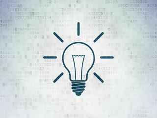 Finance concept: Light Bulb on Digital Data Paper background