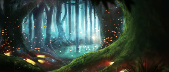 Wall Murals Black Illustration fantasy forest