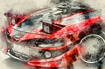 NIZHNY NOVGOROD, RUSSIA - JULY 21, 2013: Auto show. Sport car. Watercolor background