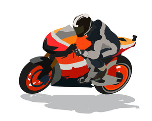 Road motorcycle racing, isolated vector illustration