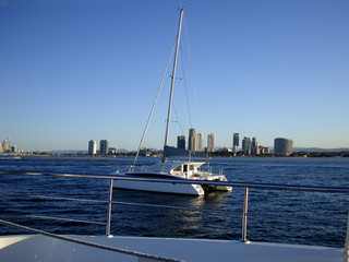 Beautiful view on Gold Coast from yacht Australia Queensland