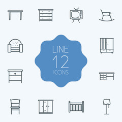 Set Of 12 Situation Outline Icons Set.Collection Of Nightstand, Desk, Tv Set Elements.