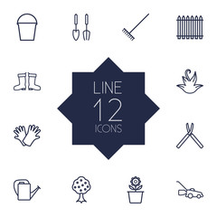 Set Of 12 Farm Outline Icons Set.Collection Of Pail, Grass-Cutter, Bailer And Other Elements.