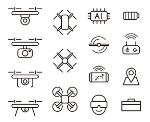 Quadcopter and flying drone icons in line style, vector illustration