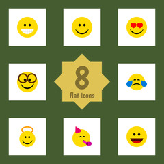 Flat Face Set Of Grin, Party Time Emoticon, Joy And Other Vector Objects. Also Includes Fun, Emoji, Grin Elements.