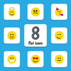 Flat Face Set Of Hush, Party Time Emoticon, Angel And Other Vector Objects. Also Includes Smile, Silent, Displeased Elements.