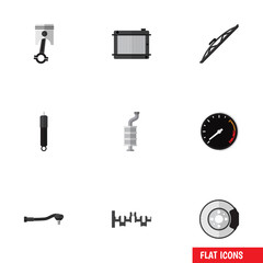 Flat Auto Set Of Tachometr, Metal, Silencer And Other Vector Objects. Also Includes Speed, Crankshaft, Speedometer Elements.