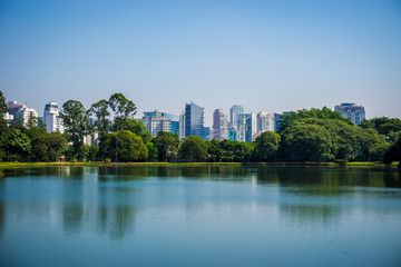 Ibirapuera Park, Sao Paulo, Brazil - Beautiful view of the lake with buildings in the background.