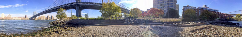 Panoramic view of New York City from Brooklyn Bridge Park