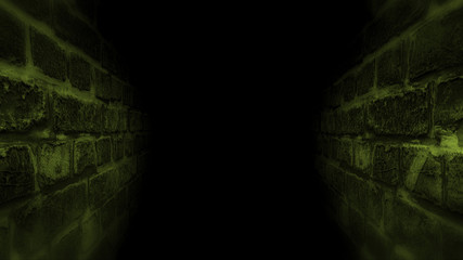Black scary corridor. Running in the dark corridor.