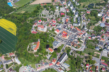 aerial view of the town center
