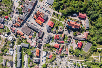 Foto op Aluminium Luchtfoto aerial view of the town center