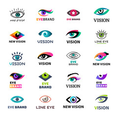 Eye blinker business icon glimmer template logo idea startup light company badge vector illustration