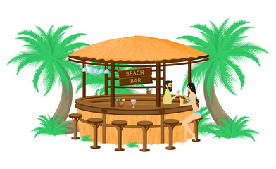 Vector illustration of the bartender offering a cocktail to a female client in the beach bar isolated on a white background.