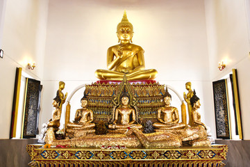 Buddha statue beautiful in the church of Wat Pranon Temple at Suphanburi, Thailand.