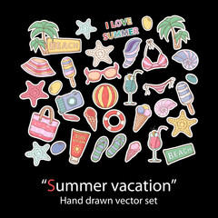 Summer set.Scrapbook.Fashion patch badges collection.