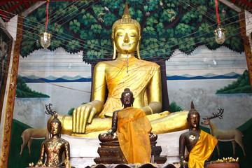 Buddha statue beautiful in the church of Wat Kae Temple at Suphanburi, Thailand.