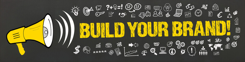 Build your Brand! / Megafon mit Symbole