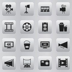 Set Of 16 Editable Cinema Icons. Includes Symbols Such As Record Cam, Loudspeaker, Drink And More. Can Be Used For Web, Mobile, UI And Infographic Design.