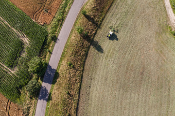 Foto op Canvas Luchtfoto aerial view of green harvest fields