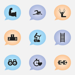 Set Of 9 Editable Sport Icons. Includes Symbols Such As Training Bicycle, Barbell, Biceps And More. Can Be Used For Web, Mobile, UI And Infographic Design.