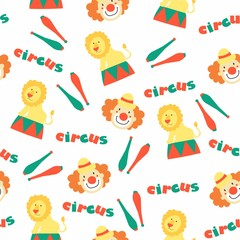 """Vector seamless pattern """"Funny circus!"""""""