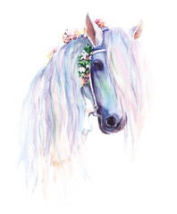 The blue horse with flowers in the mane. Original watercolor painting.