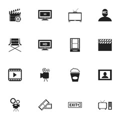 Set Of 16 Editable Cinema Icons. Includes Symbols Such As Screen, Movie Reel, Movie Action And More. Can Be Used For Web, Mobile, UI And Infographic Design.