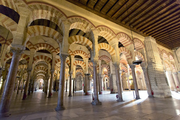 Inside the Grand Mosque Mezquita cathedral of Cordoba, Andalusia