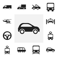 Set Of 12 Editable Transport Icons. Includes Symbols Such As Cable Railway, Motorbus, Washing Auto And More. Can Be Used For Web, Mobile, UI And Infographic Design.