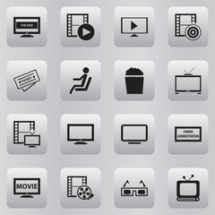 Set Of 16 Editable Filming Icons. Includes Symbols Such As Hd Television, Camera Tape, Monitor And More. Can Be Used For Web, Mobile, UI And Infographic Design.