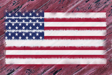 American flag against the old tree background