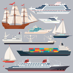 Sea transportation. Vector illustrations of ships and different boats. Flat style pictures