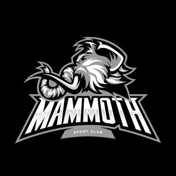 Furious woolly mammoth head sport vector logo concept isolated on black background. Modern professional mascot team badge design. Premium quality wild animal t-shirt tee print illustration.