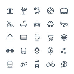 line icons set for maps or navigation apps, vector pictograms on white