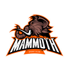 Furious woolly mammoth head sport vector logo concept isolated on white background. Modern professional mascot team badge design. Premium quality wild animal t-shirt tee print illustration.