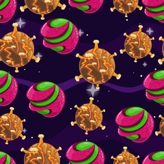 Seamless pattern with fantazy cartoon planet