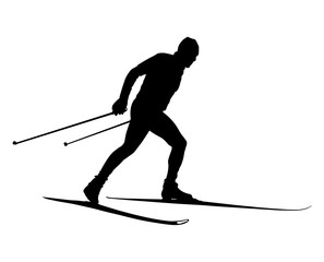 male athlete cross country skier black silhouette