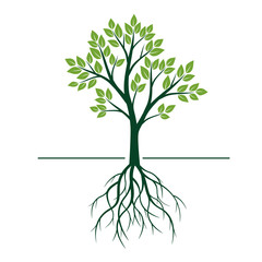 Natural Green Tree with Leafs and Roots. Vector Illustration.