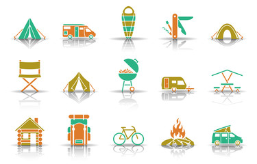 Camping Iconset - Farbe (Schatten) Wall mural