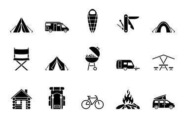 Camping Iconset - Schwarz