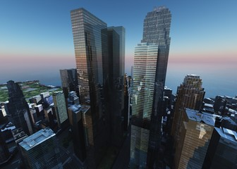 Beautiful view of the skyscrapers, modern city landscape, 3d rendering