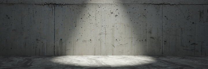 concrete wall with spotlight as panorama